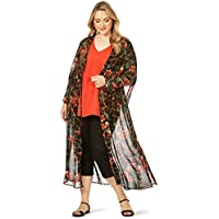 Beme Long Bell Sleeve Printed Maxi Kimono - Womens Plus Size Curvy