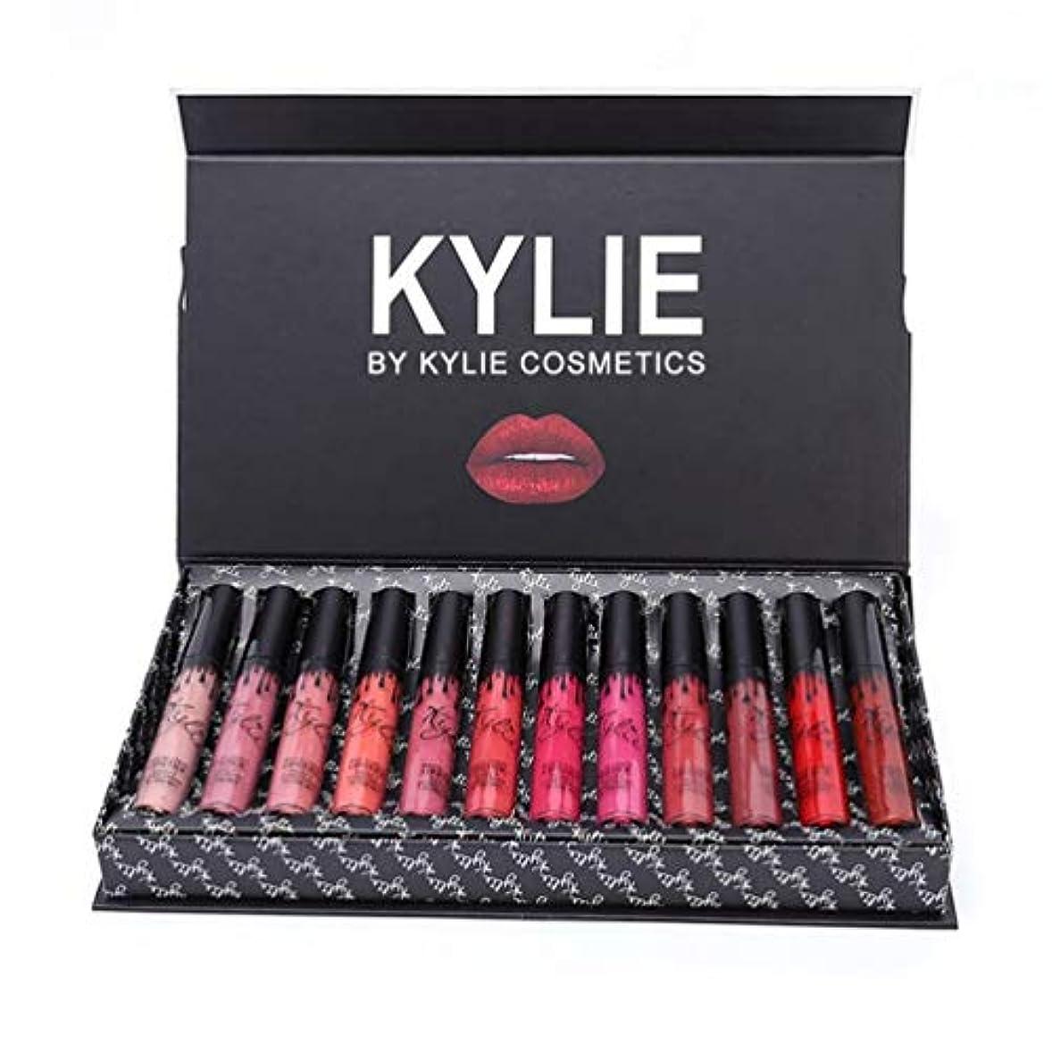 早い公マイルKylie 12ピース/色ポータブルマット口紅キット保湿リップルージュ女性化粧品リップメイクアップギフトセット - 12色