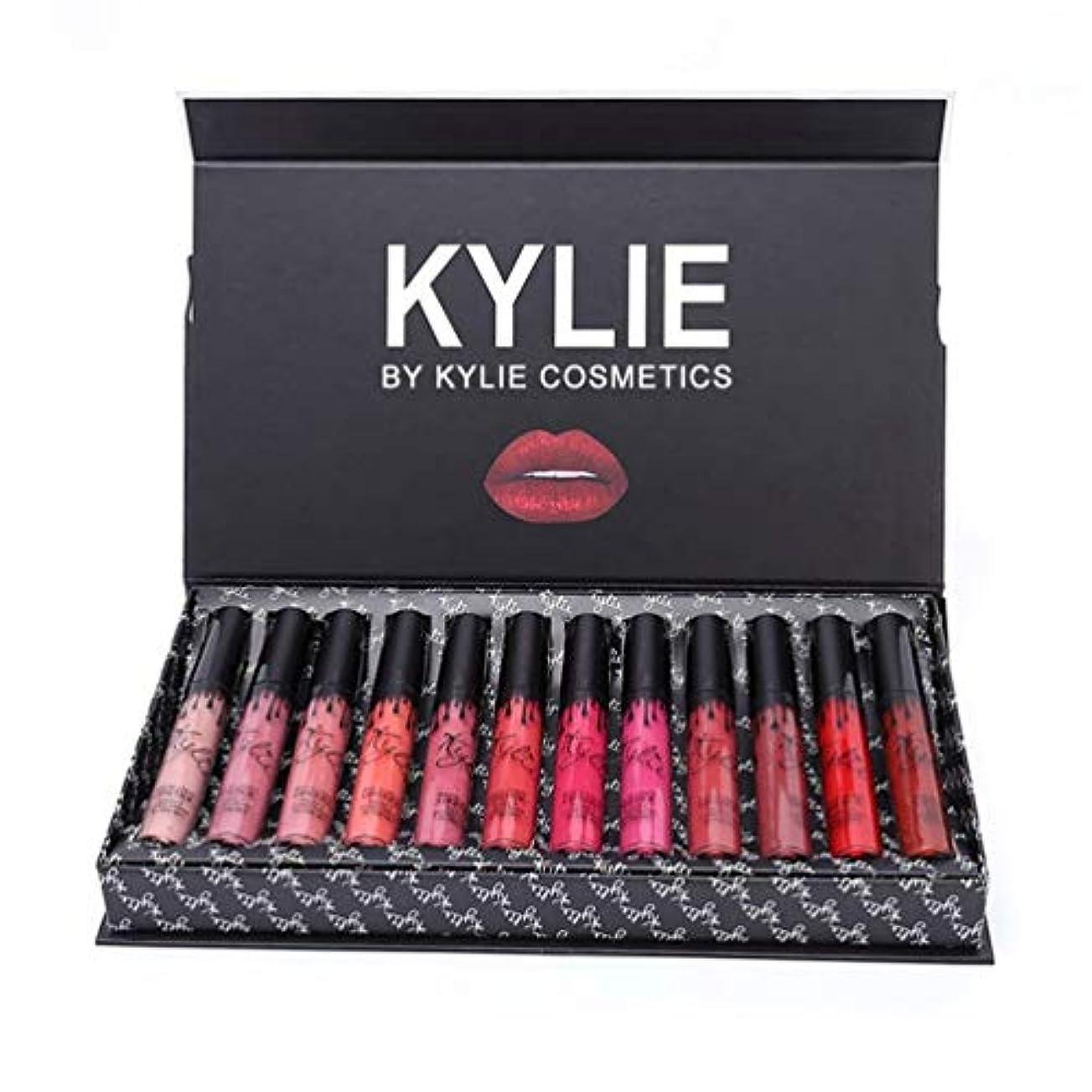 インタビューピクニックカリングKylie 12ピース/色ポータブルマット口紅キット保湿リップルージュ女性化粧品リップメイクアップギフトセット - 12色