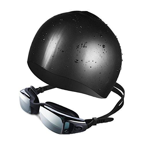 [해외]Patech 2 세트 수영 모자 수영 고글 UV 방지 방수 소재 김서림 방지 프리미엄 실리콘 재질 남녀 겸용 (12 개월 국내 보장)/Patech 2 set swim cap swimming goggle UV prevention waterproof material anti-fog premium silicone made unisex (12 mo...