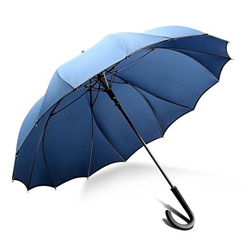 ZX popular 傘 強風 嵐対応専用傘 シームレス 一枚張り 100%雨漏れない グラスファイバー傘骨 耐風構造 約461g(ネイビー S)