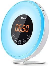 Tinzzi 目覚ましライト 目覚まし時計 Wake-Up Light 7色変換 時間記憶 光療法 自然音 輝度調整 アラーム&スヌーズ機能付き ベッドサイドランプ タッチセンサー おしゃれ led 時計 テーブルライト 北欧 usb充電 寝室 室内用