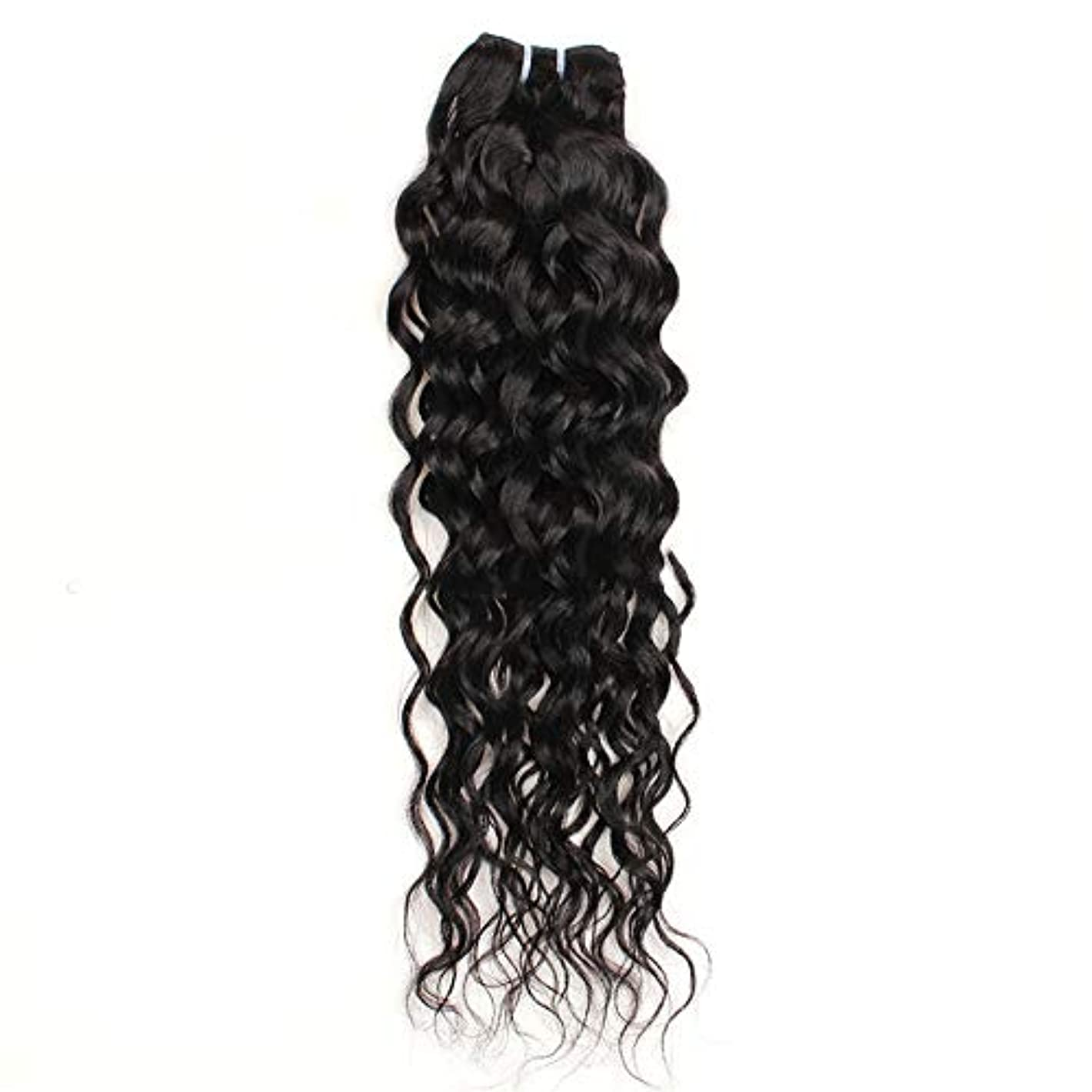 血まみれ指定するずるいWASAIO ブラジルレアル人間の髪ウォーター織り閉鎖ボディウェーブ拡張リアルな鮮やかさ100グラム/バンドル10インチ、26インチ (色 : 黒, サイズ : 18 inch)