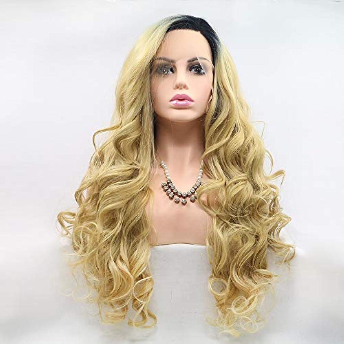 洪水方法論甲虫ヘアピース 黒黄色のグラデーションの長い髪の巻き毛の女性手作りレースヨーロッパとアメリカの自然な髪のかつらセット