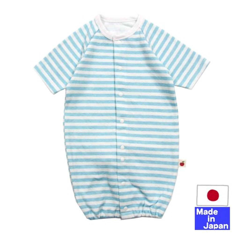 ◇日本製◇ 接結ニット七分袖ツーウェイオール(かわいいボーダー)50-60cm 日本製 (サックス)