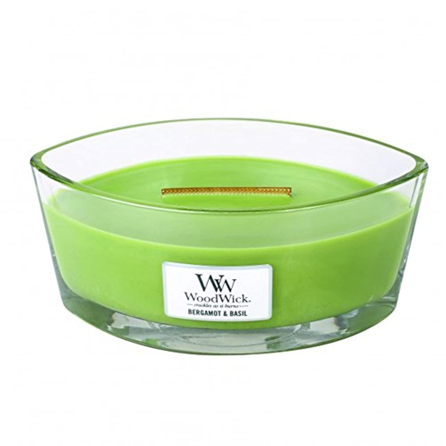 やさしい経験的以降ベルガモットBasil Hearthwick Flame Large Scented Candle by WoodWick