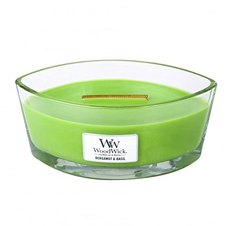 熟達した緩やかな損傷ベルガモットBasil Hearthwick Flame Large Scented Candle by WoodWick