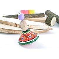 木製ハンドメイドSpinning Top Decorated with環境に優しいPaintsモーター開発