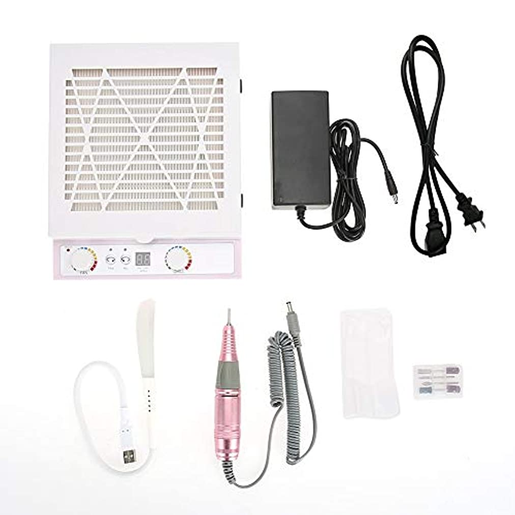 アブストラクトくるくるリラックスしたYOUTHINK 48W 3 in1電動ネイルドリル 集塵機 ネイルポリッシュ機 25000 rpm LEDライトネイルアート機器 LCD表示(USプラグ)