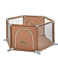 BSNOWF-ベビーサークル Playpens屋内屋外6パネルFoldableコンパクトなポータブルベビーフェンスボーイズガールズセーフティープレイセンターヤード (色 : Brown)
