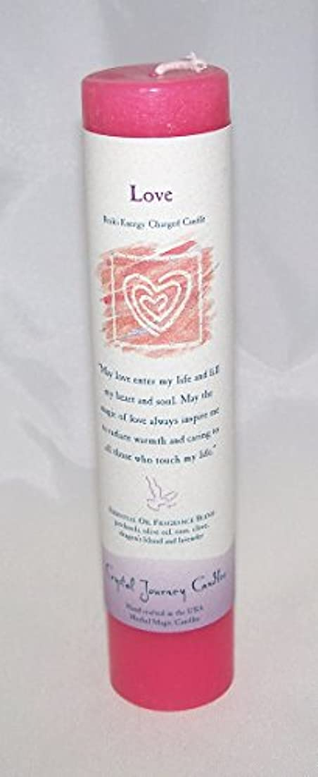 タクシー死にかけている火炎Crystal Journey Reiki Charged Herbal Magic Pillar Candle - Love - Made with Aromatherapy Essential Oils Olive...