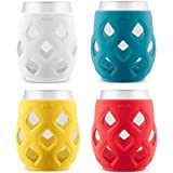 Ello Cru 17 Oz Stemless Wine Glass Set with Silicone Sleeves