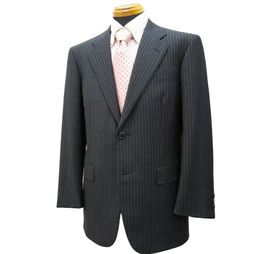 シングル2釦スーツ「日本製」ウール100% イタリア/チャコールグレー系ストライプ柄/メンズ紳士服上下 ロロ・ピアーナ