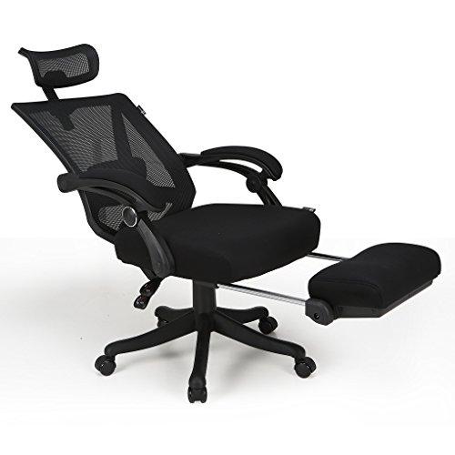 Hbada ハイバック オフィスチェア メッシュ - デスクチェア オットマン付き 可動式アームレスト ランバーサポート 昇降ヘッドレスト 約155度リクライニング 通気性 強化ナイロン樹脂
