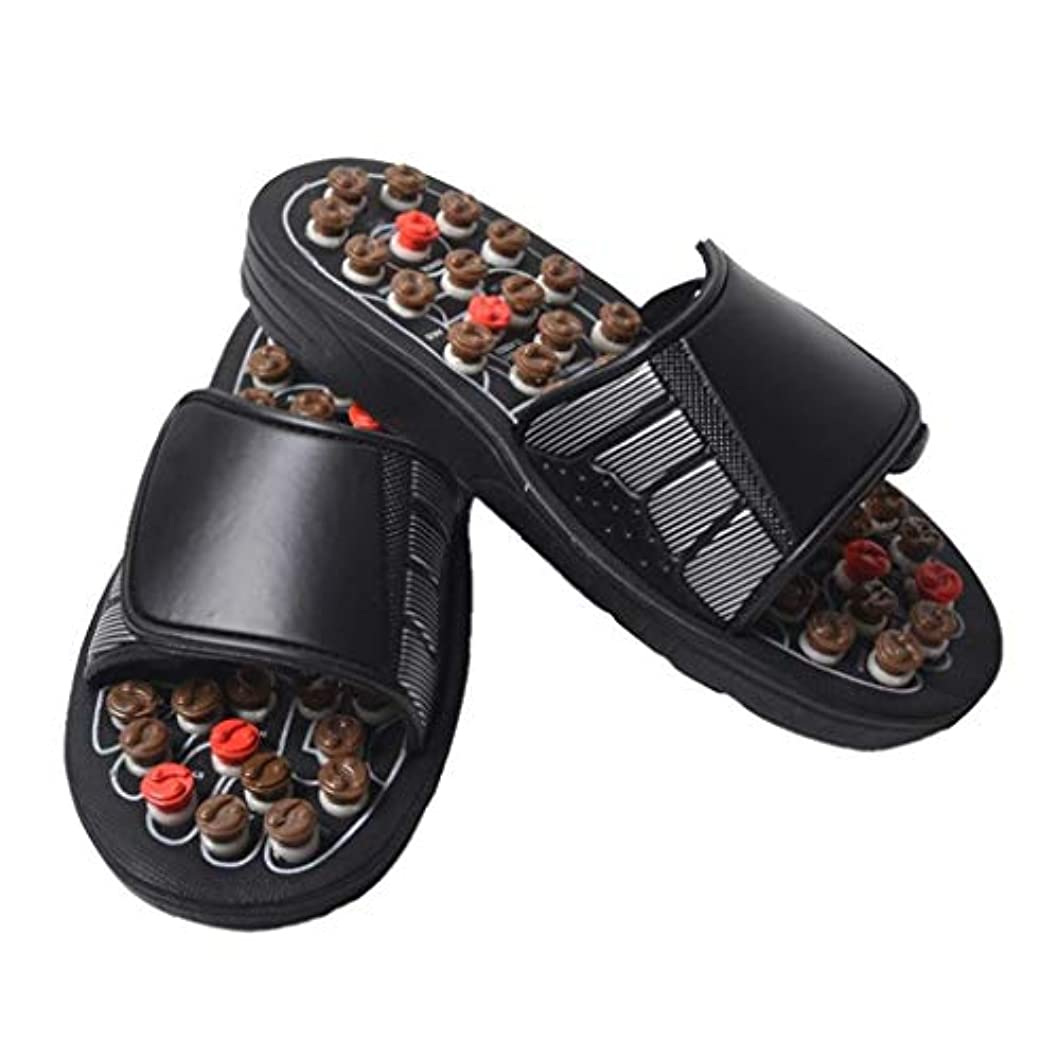 君主制処方する長々とフットマッサージャー、足底筋膜炎用の取り外し可能な回転鍼ポイント、滑り止めスリッパ、フットマッサージ、サンダル、指圧マッサージ、男性/女性に適しています (Color : Brown, Size : 43)