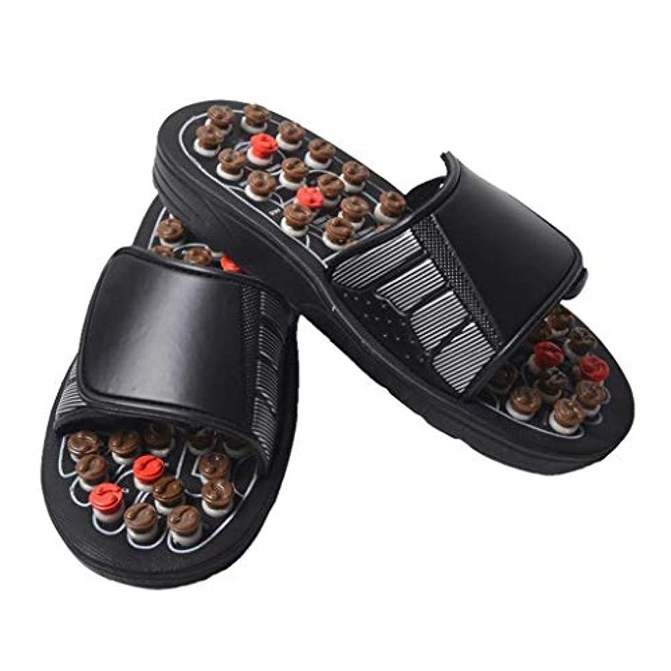 セブン動揺させるグリットフットマッサージャー、足底筋膜炎用の取り外し可能な回転鍼ポイント、滑り止めスリッパ、フットマッサージ、サンダル、指圧マッサージ、男性/女性に適しています (Color : Brown, Size : 43)