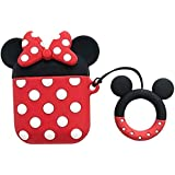 TeknooShop for Apple airpods Case Cover 1&2, Minnie Mouse Character Airpods 1st generation, Airpods 2nd generation Case Cover
