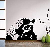 Hnzyfヘッドフォンでビニール壁デカールモンキーイヤホンで音楽を聴く1色チンパンジーストリートグラフィティステッカー