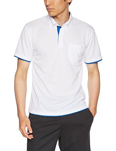 glimmer 半袖 4.4オンス ドライ レイヤード ボタンダウン ポロシャツ 00315-AYB ホワイト×ロイヤルブルー Mサイズ