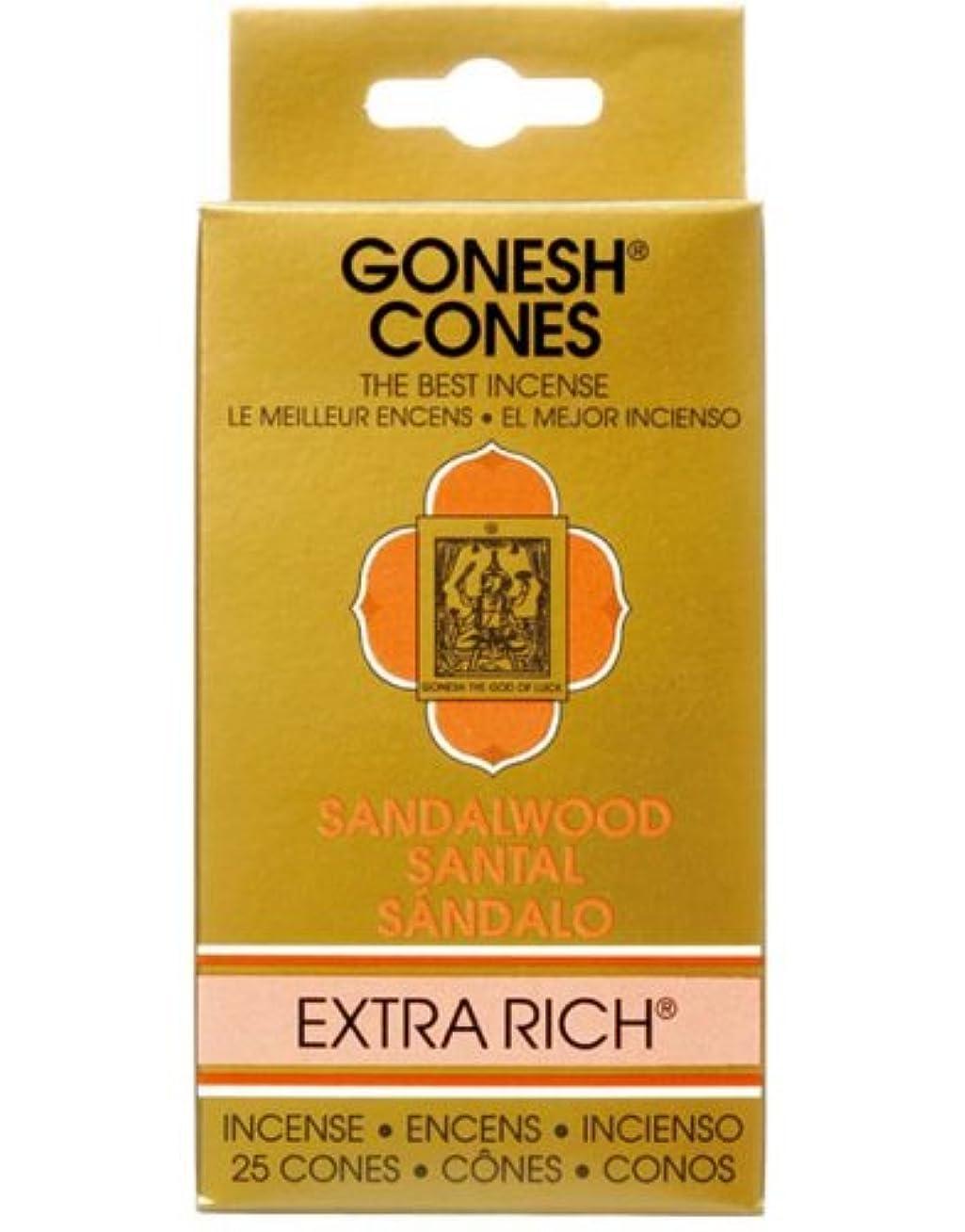 ローラー下着呼吸するガーネッシュ(GONESH) エクストラリッチ インセンス コーン サンダルウッド(白檀) 25個入(お香)