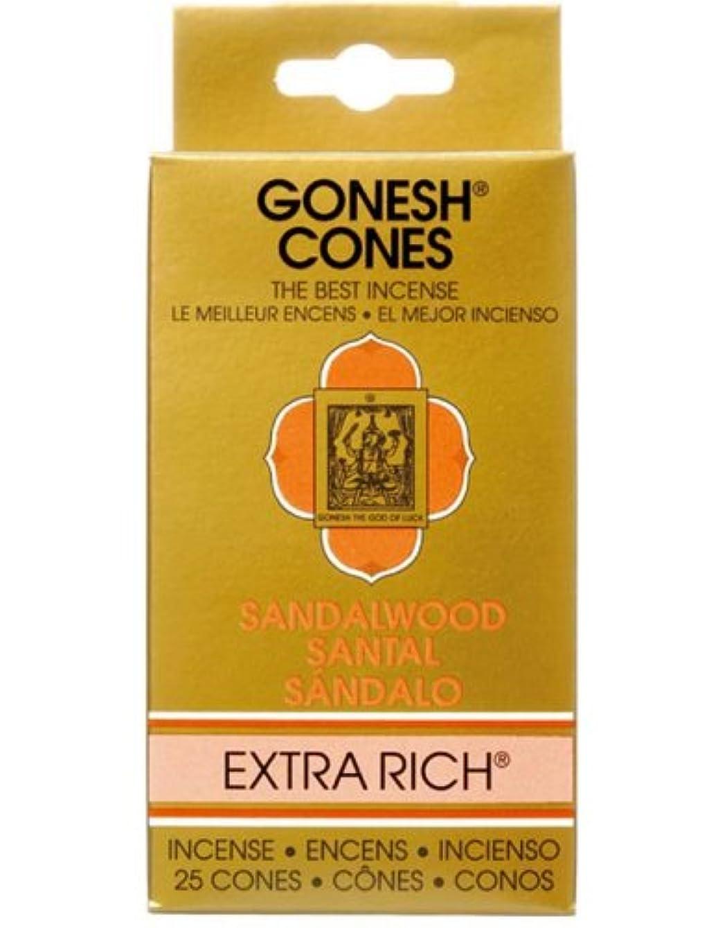 取るに足らない定期的なわずかなガーネッシュ(GONESH) エクストラリッチ インセンス コーン サンダルウッド(白檀) 25個入(お香)