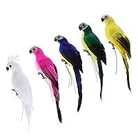 PETSOLA 5ピース 人工鳥 コンゴウインコ オウム 可愛い 動物像 芝生 植物 装飾