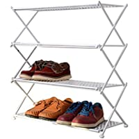 家庭用鍛鉄靴棚、多層畳靴靴居間靴屋金属靴棚 (色 : 白)