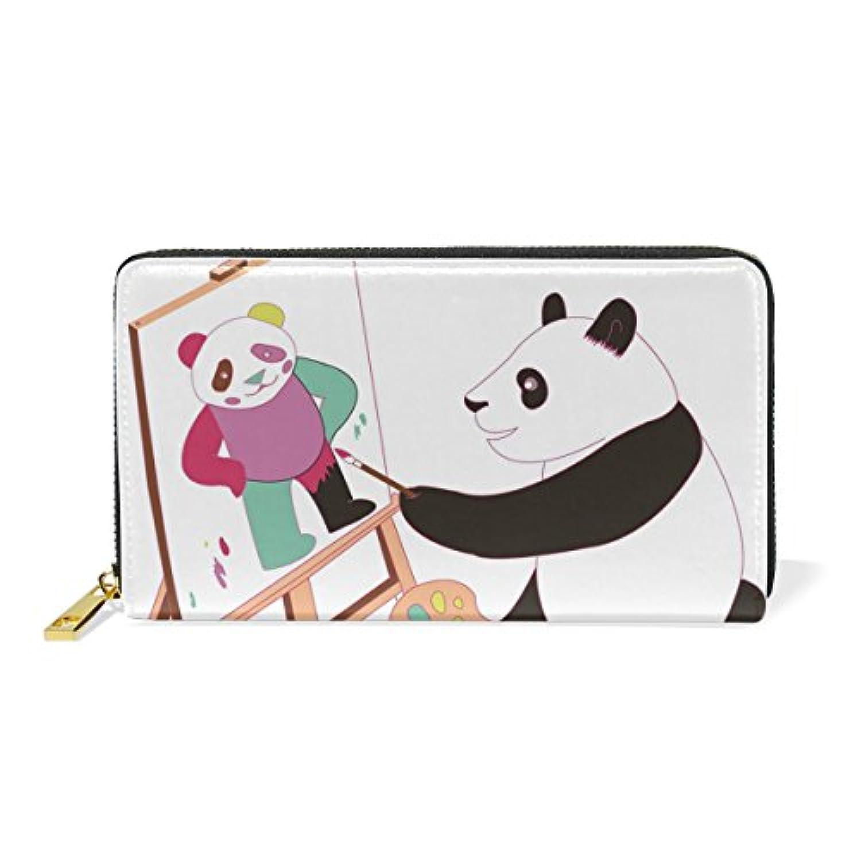 Anmumi 財布 長財布 レディーズ 大容量 本革 二つ折り カード入れ PUレザー 多機能 人気 かわいい パンダ