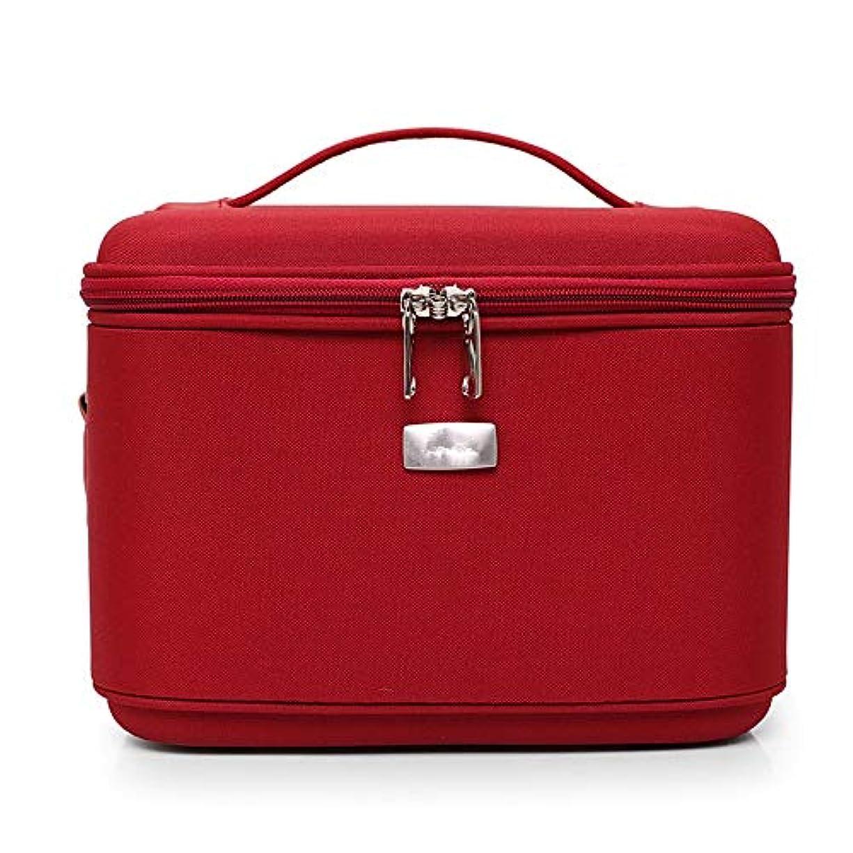 以来フォームペッカディロ特大スペース収納ビューティーボックス 鏡付き女性用化粧バッグ、ペンケース、ポーチバッグ、化粧ブラシバッグトラベルキットオーガナイザー化粧品袋(黒、赤、紫) 化粧品化粧台 (色 : 赤)