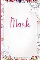 Mark: Pink Floral Design Personalized Name Lined Journal Notebook Diary To Write In / Wild Ruled Note Book Planner 120 Pages