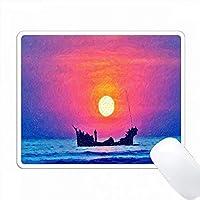 抽象的なサンセットの海でのボートの印刷 PC Mouse Pad パソコン マウスパッド