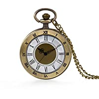 Bronze Pocket Watch 24 Hour Open Face Quartz Roman Numerals Scale with Chain