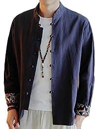 gawaga メンズカジュアルルーズコットンリネンシャツロングスリーブフロッグボタンジャケットコート