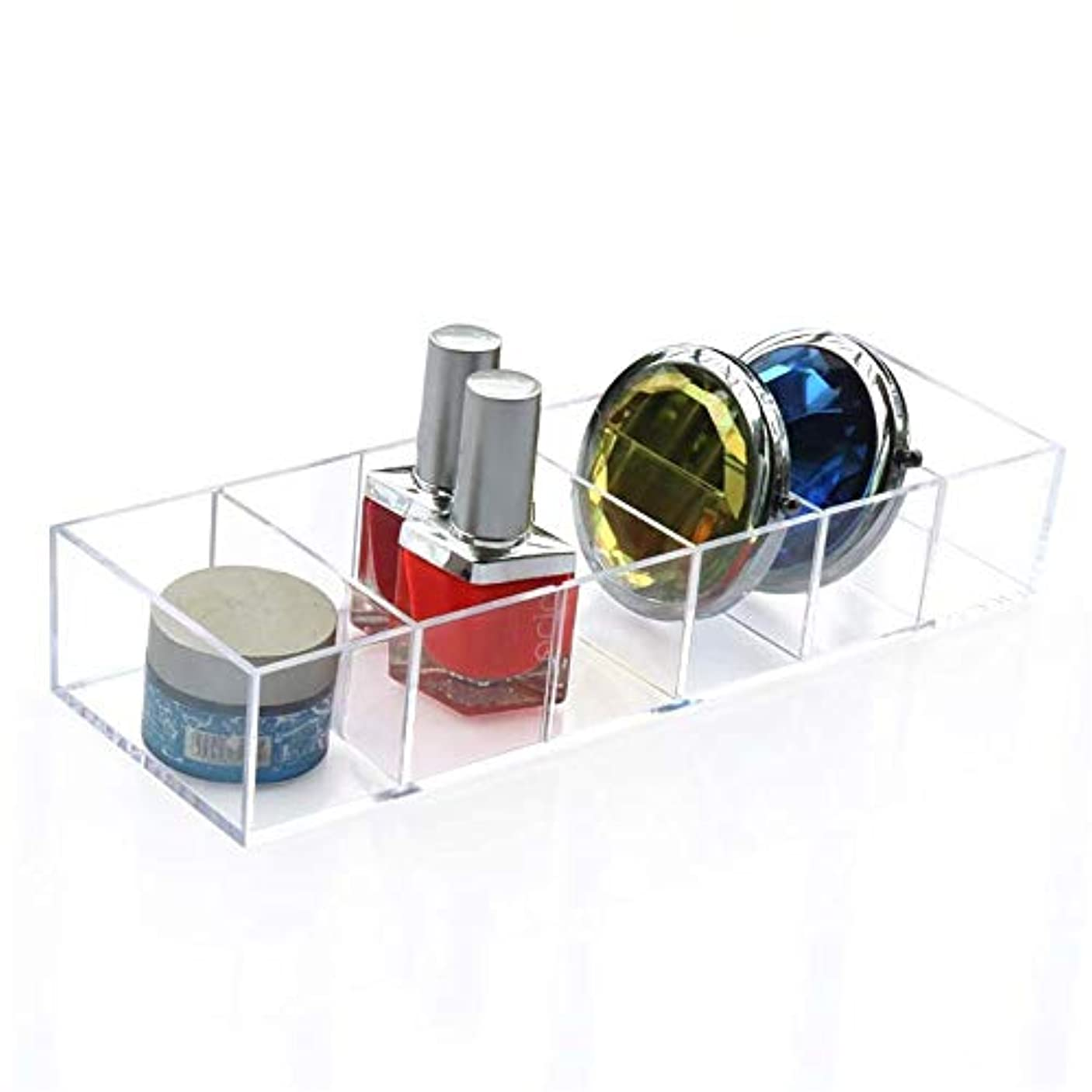 バー製作早熟整理簡単 シンプル6スロットアクリルフェイスパウダー口紅ホルダー化粧ケース収納オーガナイザーボックス (Color : Clear, Size : 25.5*8.6*4.4CM)