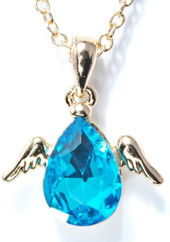誕生石 天使 の 羽根 の 付いた ティアドロップ 型 ペンダント 付 ネックレス (ブルートパーズゴールド)