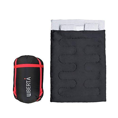LIBERTA(リベルタ) 2人用 寝袋 シュラフ スリーピングバッグ 封筒型 丸洗い 最低使用温度-5度 収納袋 枕付き ブラック