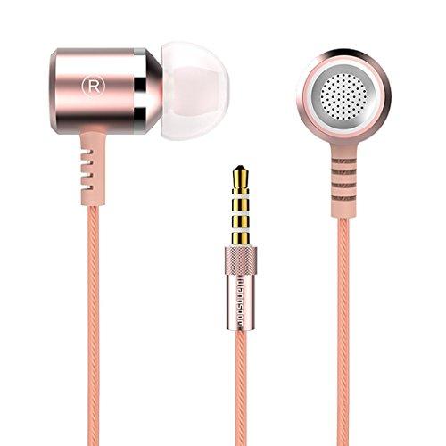 Langsdom 高音質金属イヤホン カナル型 重低音 ノイズ遮断 密閉 マイク ピンクゴールド M400
