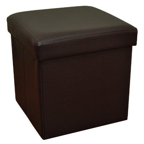 収納ボックススツールオットマン 30cmx30cm ダークブラウン 折りたたみ式 合成レザー
