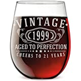 Vintage 1999 Etched 17oz Stemless Wine Glass - 21st Birthday Aged to Perfection - 21 Years Old Gifts