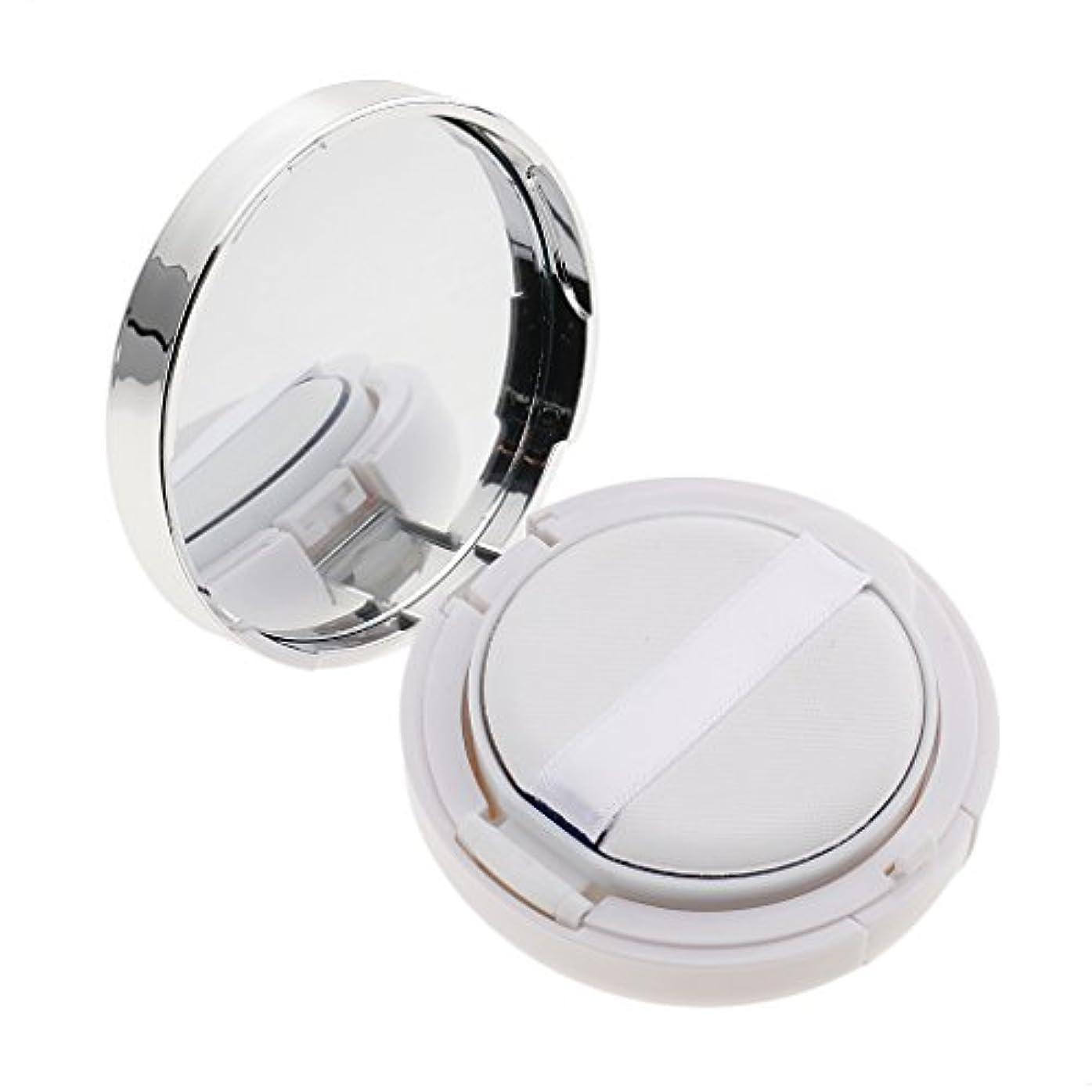 Perfk メイクアップ エアクッションケース パウダー パフ パフボックス ラウンド BBクリーム 詰替え 便利 3色選べる - 白