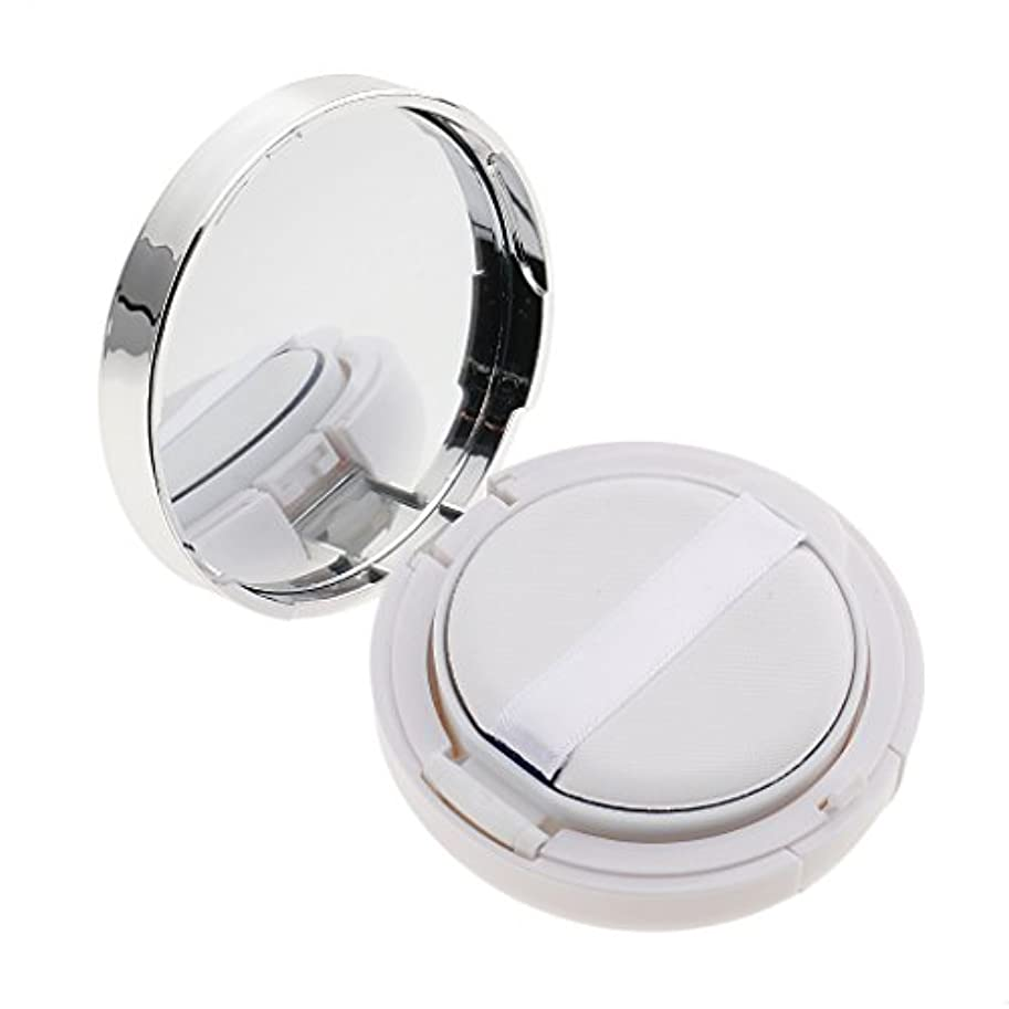 にぎやか細部機械的メイクアップ エアクッションケース パウダー パフ パフボックス ラウンド BBクリーム 詰替え 便利 3色選べる - 白