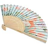 KESOTO 2色選択 竹とポリスターファイバー製 折りたたみファン ビンテージ 日本スタイル ファン - かわいいキツネ