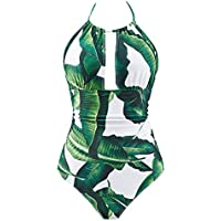 B2prity Women's One Piece Swimsuits Tummy Control Swimwear Slimming Monokini Bathing Suits Women Backless V Neck Swimsuit