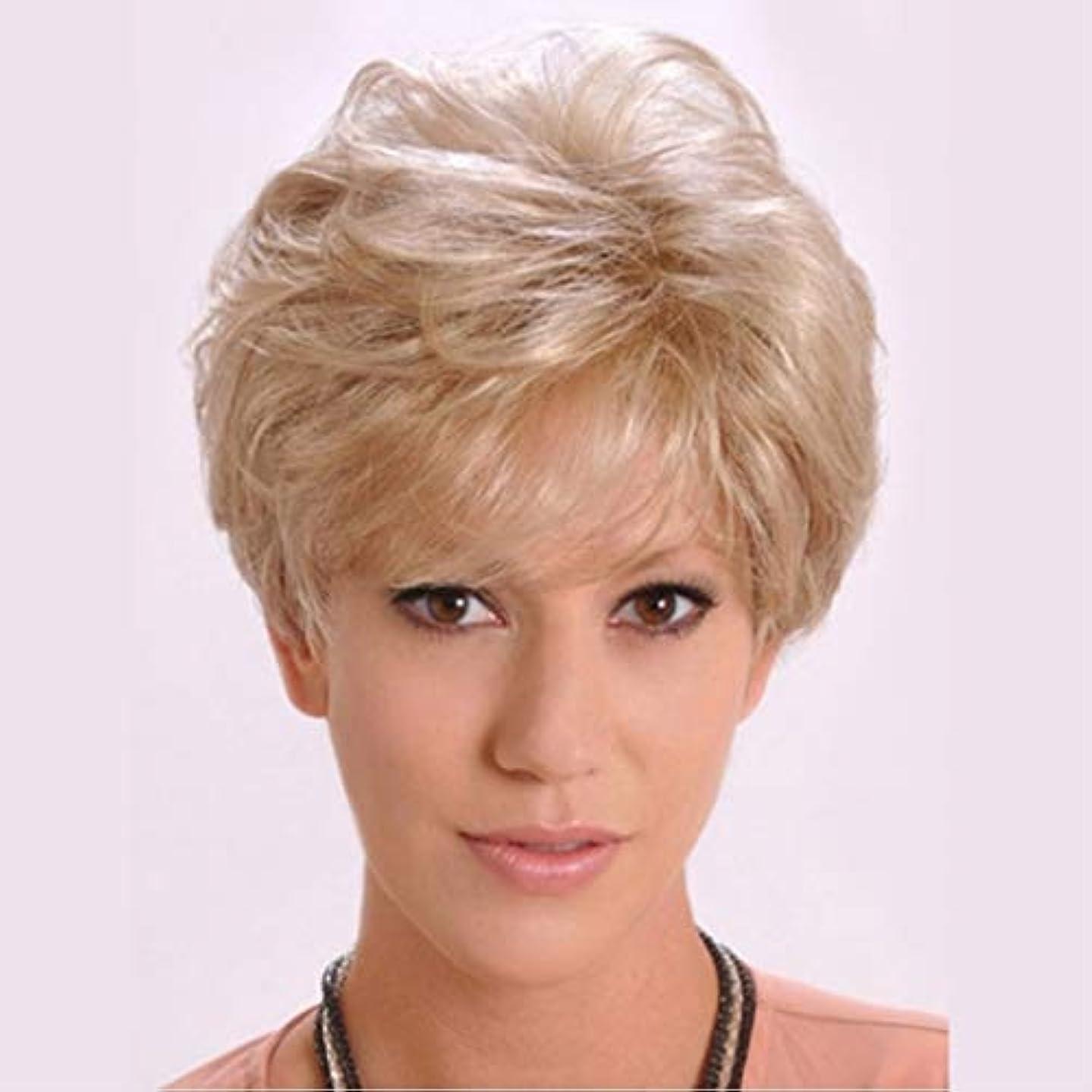 マディソンマラドロイトアートKerwinner 女性のための短い巻き毛のかつら短い髪のふわふわブロンドの巻き毛のかつら (Color : Light brown)