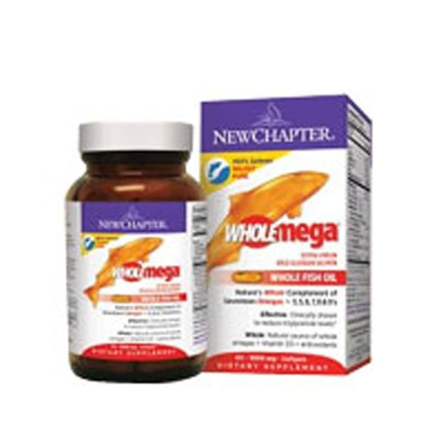 カメラ豊かなこのNew Chapter Wholemega extra pure fish oil - 1000 mg, 120 softgels (Multi-Pack) by Wholemega Fish Oil,