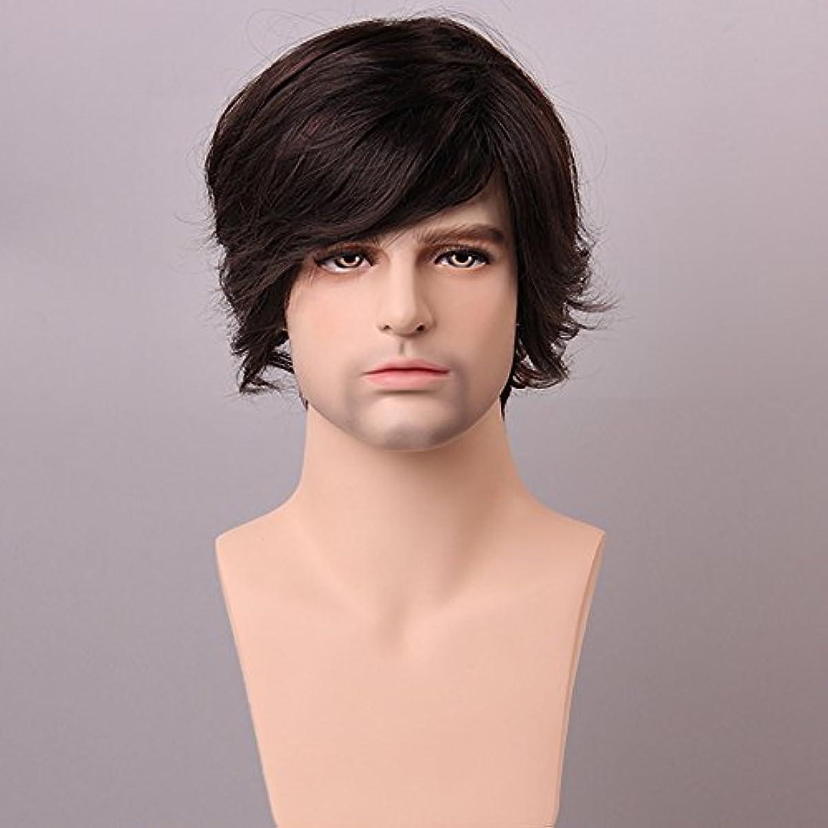 理解ゲージ解放YZUEYT ふわふわミディアムブラウン男性の人間の髪のかつら男性モノトップVirginレミーキャップレスサイドバング YZUEYT (Size : One size)