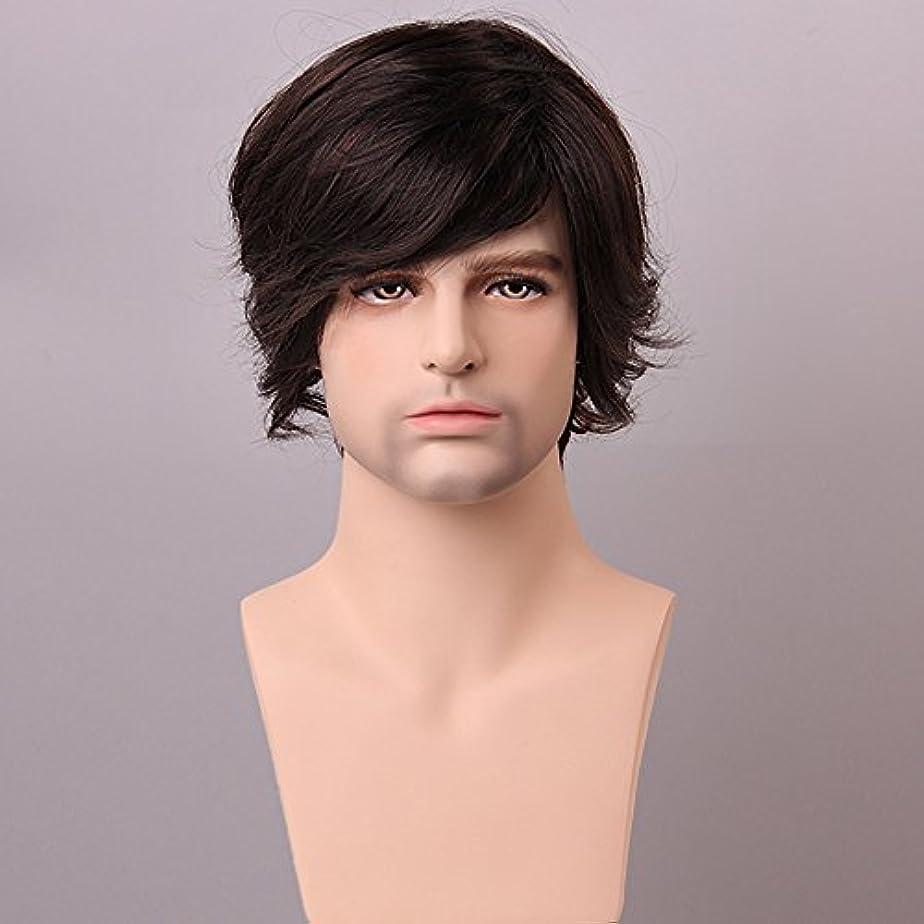 YZUEYT ふわふわミディアムブラウン男性の人間の髪のかつら男性モノトップVirginレミーキャップレスサイドバング YZUEYT (Size : One size)