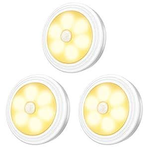 AMIR LED センサーライト 人感センサー ライト 電池式 小型 ワイヤレス マグネット 磁石付き 3Mテープ クローゼット 玄関 洗面所 階段 室内照明 暖色 3個セット