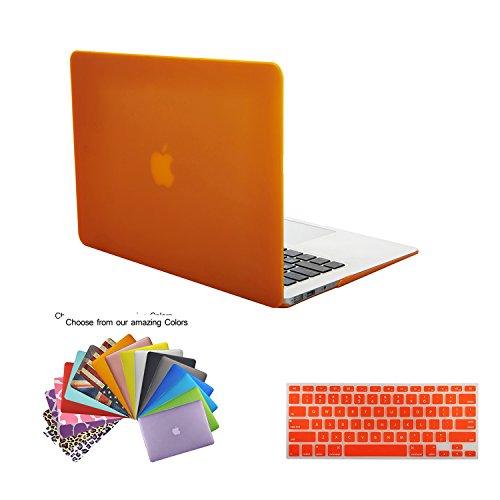 TECOOL(TM) 2 in 1 マックブック用ハードケース【全27色】 シリコンキーボードカバー MacBook Air 13インチ専用 モデル:A1466 と A1374 マウスパッド付き(オレンジ)