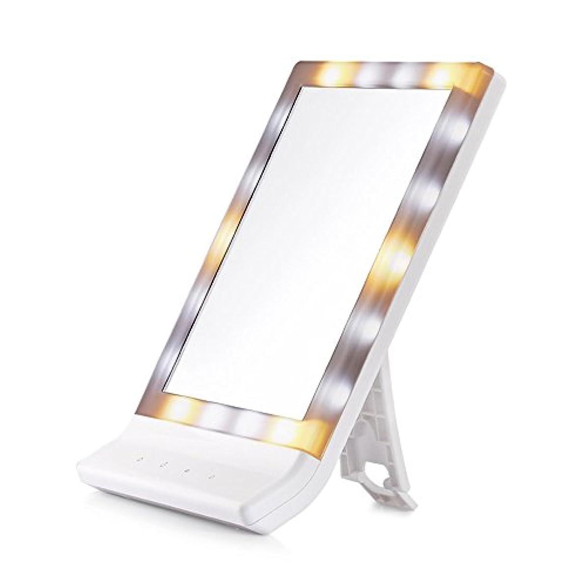 カウントコンデンサー州卓上/壁掛け両用ミラー 卓上ミラー ライト付き 18個 ledライト ミラー 電池/USB給電 スタンド LED化粧鏡 3段階調色 ホワイト